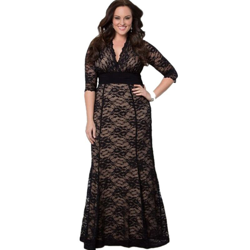 8888ee2fb6e9c Fashion Women Summer Black Long Lace Party Dress Ladies Big Large Plus Size  Maxi Dresses 2XL-4XL Vestidos De Festa