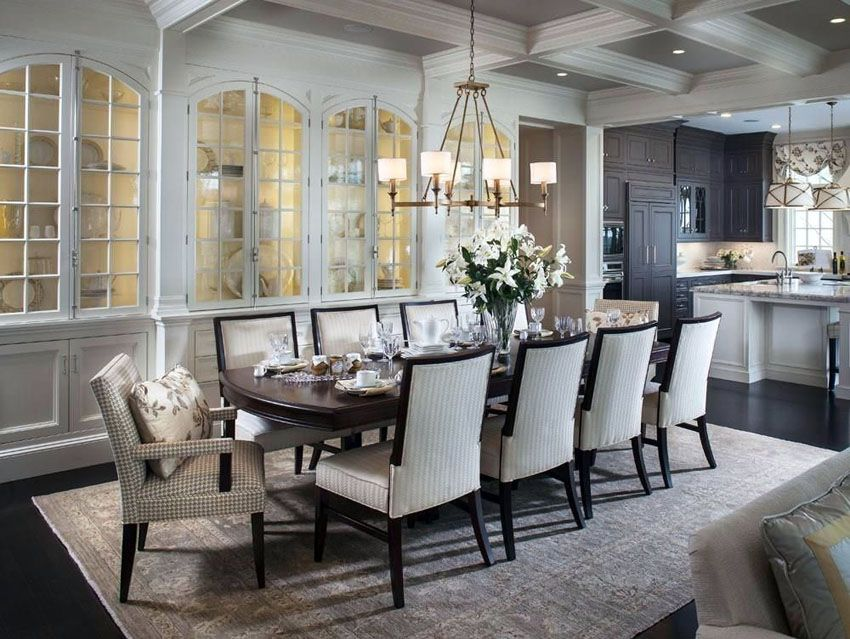 Traditional dining room with open layout to