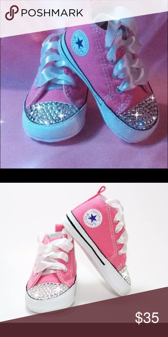 e0f50050cc7371 Baby shoes Pink baby Converse crib shoes with genuine Swarovski crystals on  toe and white satin