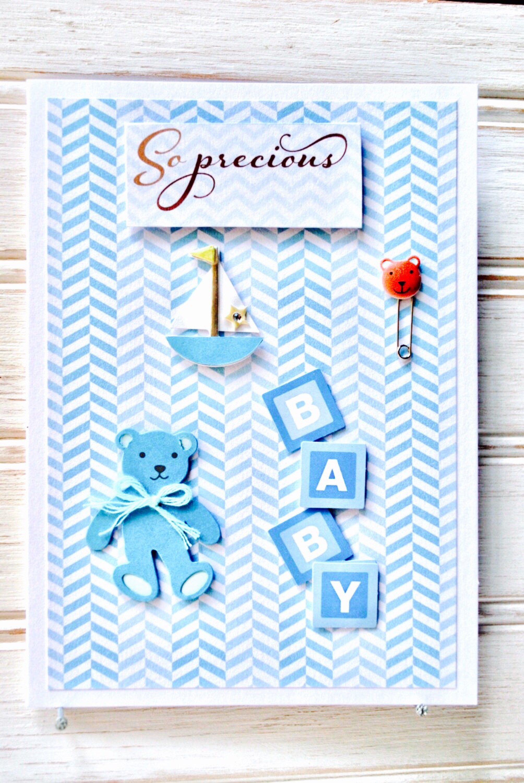 Baby Boy Greeting Card Unique Handmade Baby Boy Card Blank