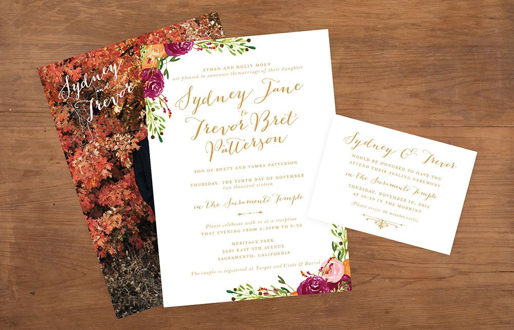 wedding invitation photo%0A The Sacramento design offers subtle floral arrangements on the wedding  invitation and an elegant font that keeps all the attention on the bride  and groom