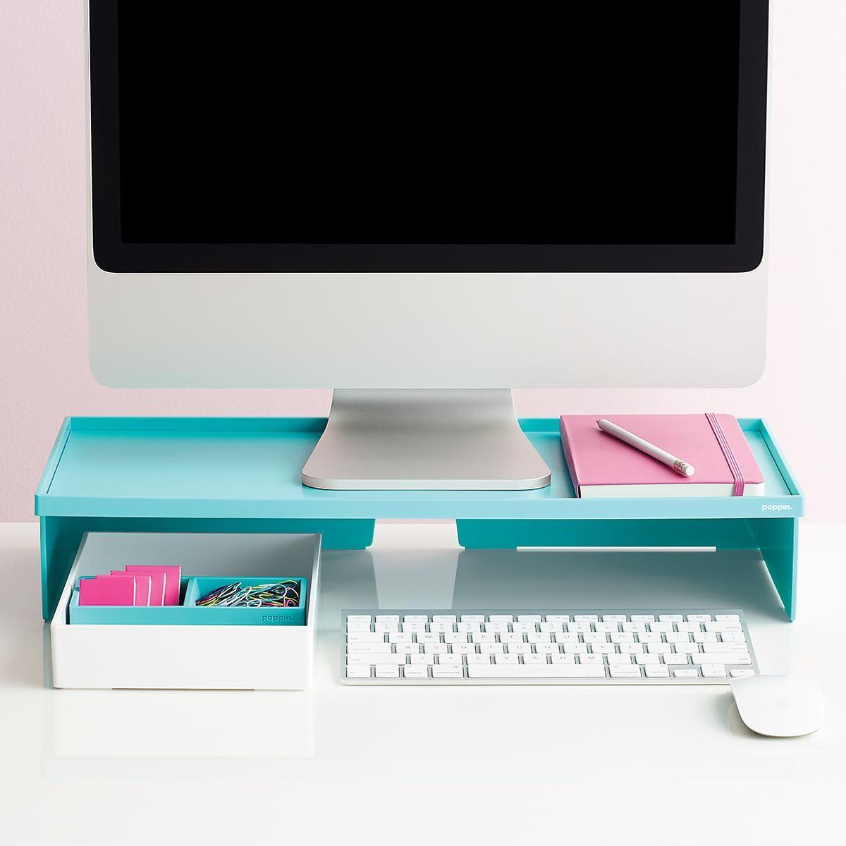 aqua poppin monitor stand in 2019 career monitor stand desk rh pinterest com