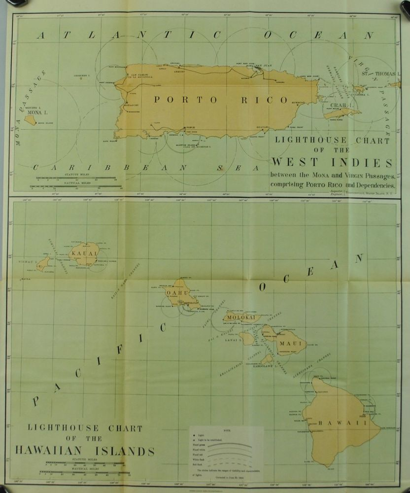 Lighthouse Hawaii West Indies Porto Rico Antique