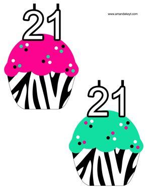 Cupcakes From 21st Birthday Printable Photo Booth Prop Set 21st