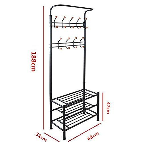 World Pride Metal Multi Purpose Clothes Coat Stand, Shoes Rack Umbrella  Stand, With 18 Hanging Hooks, Max Load Capicity Up To 80 KG / 176 Lbs, ...