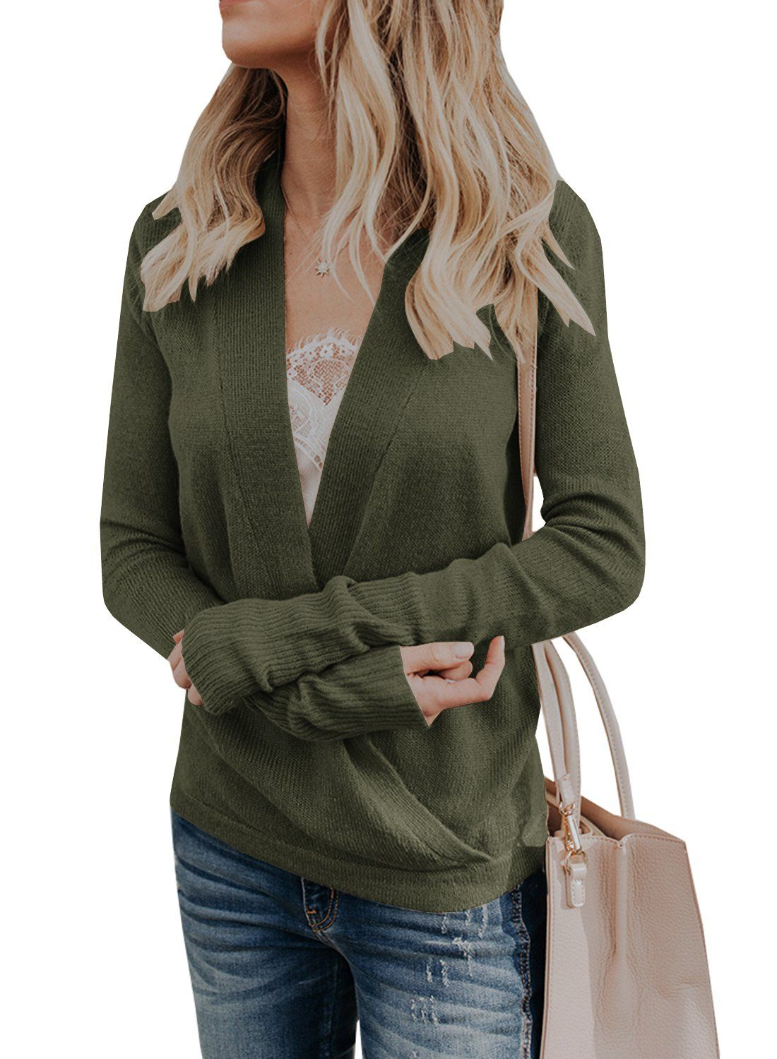7b3a54f3c3cd Sysea Womens Wrap Long Sleeve Knit Sweater Sexy Deep V Neck Pullover ...