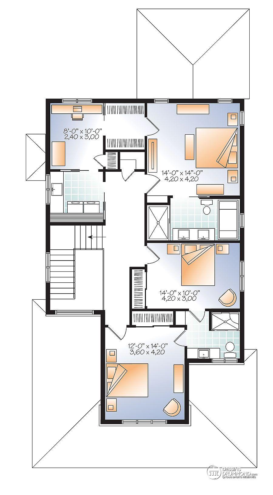 Détail du plan de maison unifamiliale w2889 v1
