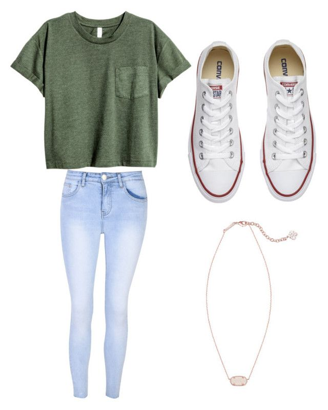 """""""School"""" by tinksoftball on Polyvore featuring Glamorous, Converse and Kendra Scott"""