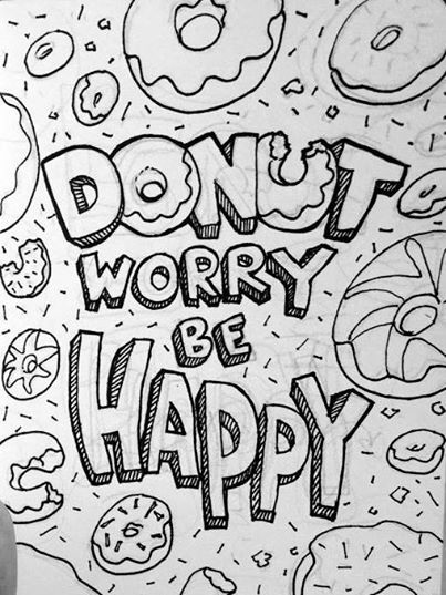 Day 24 Donut Worry Be Happy Donut Coloring Page Summer Coloring Pages Pattern Coloring Pages