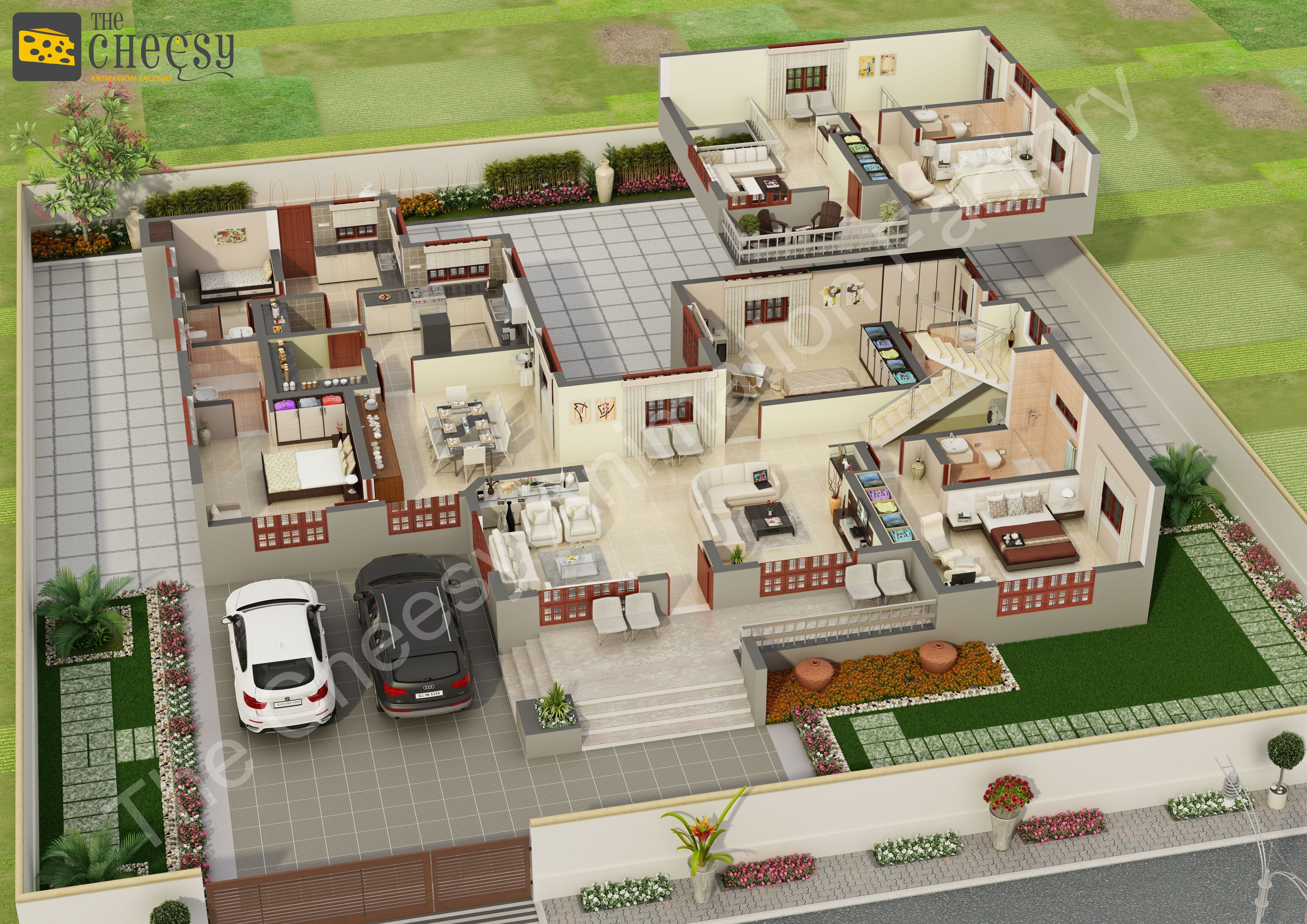 The cheesy animation studio 2d and 3d floor plan rendering for Site 3d maison