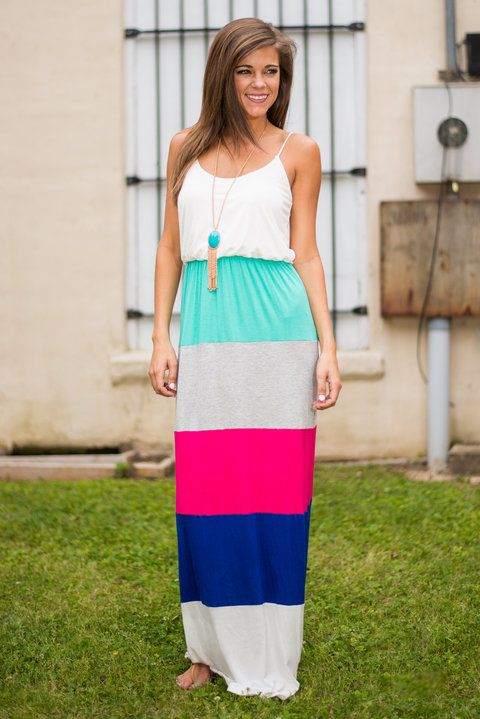 Color Block You Out Maxi Dress, Fuchsia-Blue