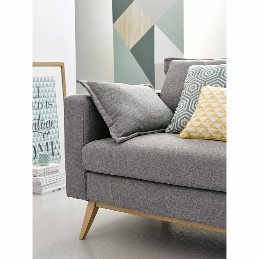 3 Seater Fabric Sofa Bed In Light Grey Maisons Du Monde Cojines Amarillos Decoracion Sofa Gris Cojines Decorativos Para Sala