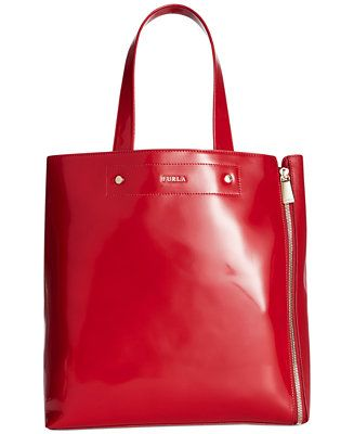 """Furla Musa Medium Tote - Tote Bags - Handbags & Accessories - Macy's. 12"""" W x 13"""" H x 5"""" . shoulder drop is 7"""" which probably would not fit over my shoulder. pretty bag. $ on sale 282.99"""