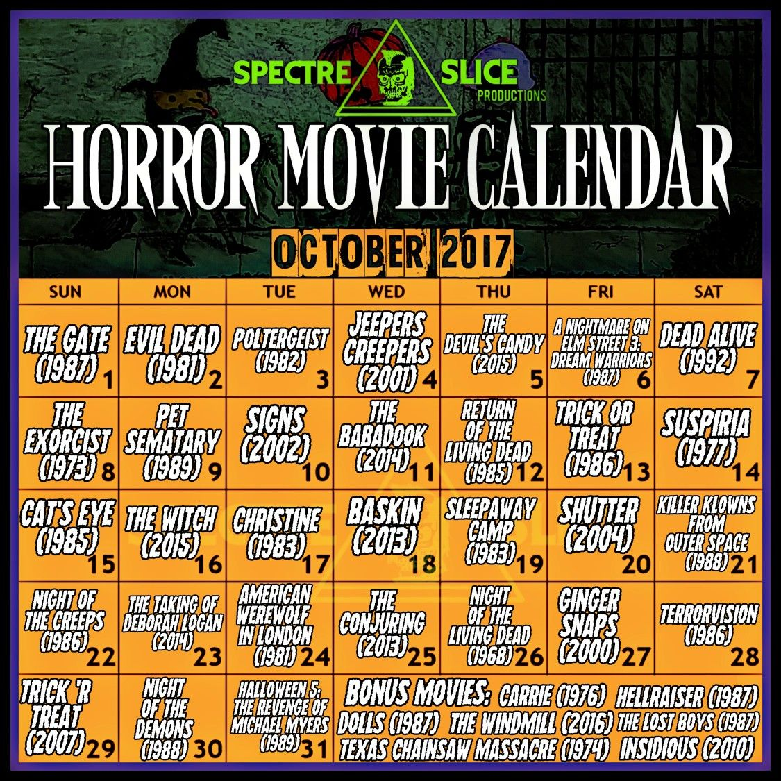 October movie calendar by Spactre Slice Productions Best