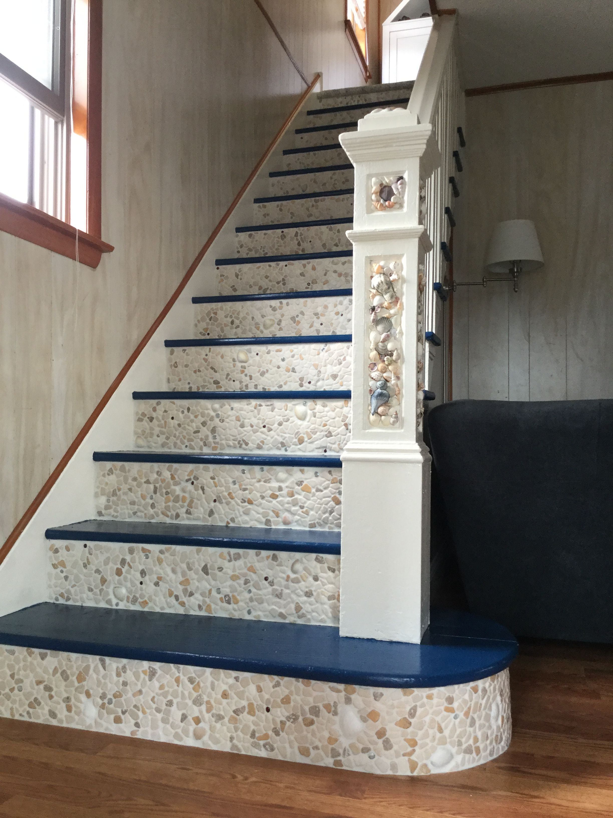 beach house staircase embellished with shells and pebbles rh pinterest com