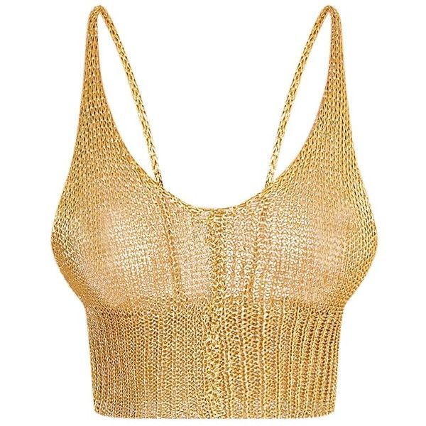 ea8d1283e2 Amba Sheer Gold Metallic Knit Bralet ( 26) ❤ liked on Polyvore featuring  tops