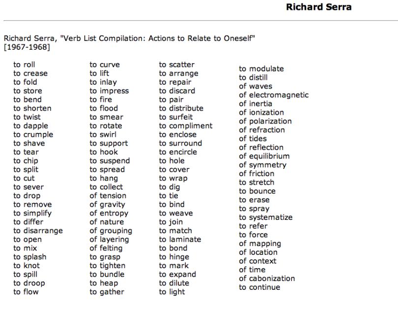 RICHARD SERRA\'S VERB LIST | Serra\'s List of Verbs | Pinterest