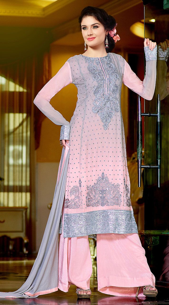 cf5310b5c4 Beautiful Light Pink Indowestern Suit With Palazzo Pant | Designer ...