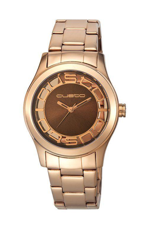 eaf0b533813c  Reloj  Custo CU066202 en PVD de oro rojo y detalles en marrón chocolate