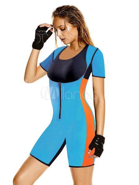 Corset bleu synthétique manches courtes athlétique Shapewear des femmes