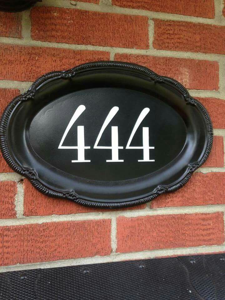 Silver Tray Repurpose House Numbers Diy House Numbers Cheap