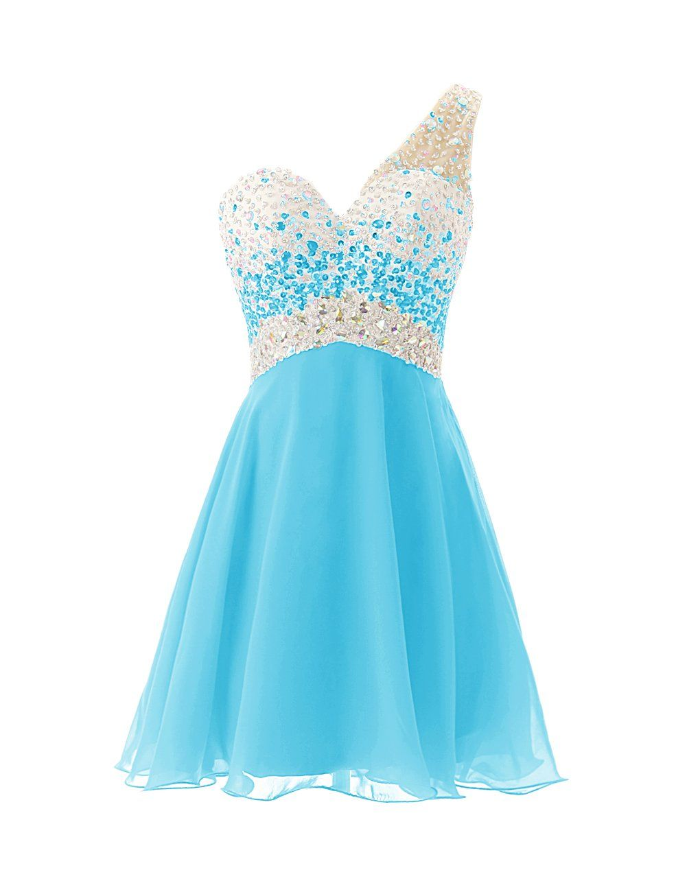 Dresstells one shoulder homecoming dress with beadings short