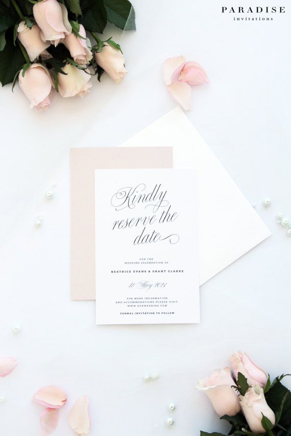 cursive fonts for wedding cards%0A Beatrice Elegant Script Save the Date Cards