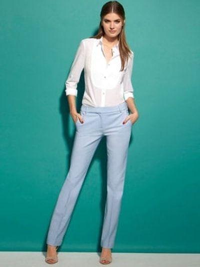 24c2f9a7db8a7 Pantalon bleu ciel et chemise plastrone de La Redoute | Tenues de ...