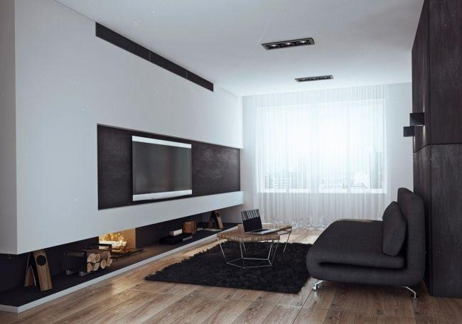 Einbaukamin wohnzimmer sofa dielen minimalistisch ideen renovierung wohnzimmer wohnung - Wohnzimmer minimalistisch ...