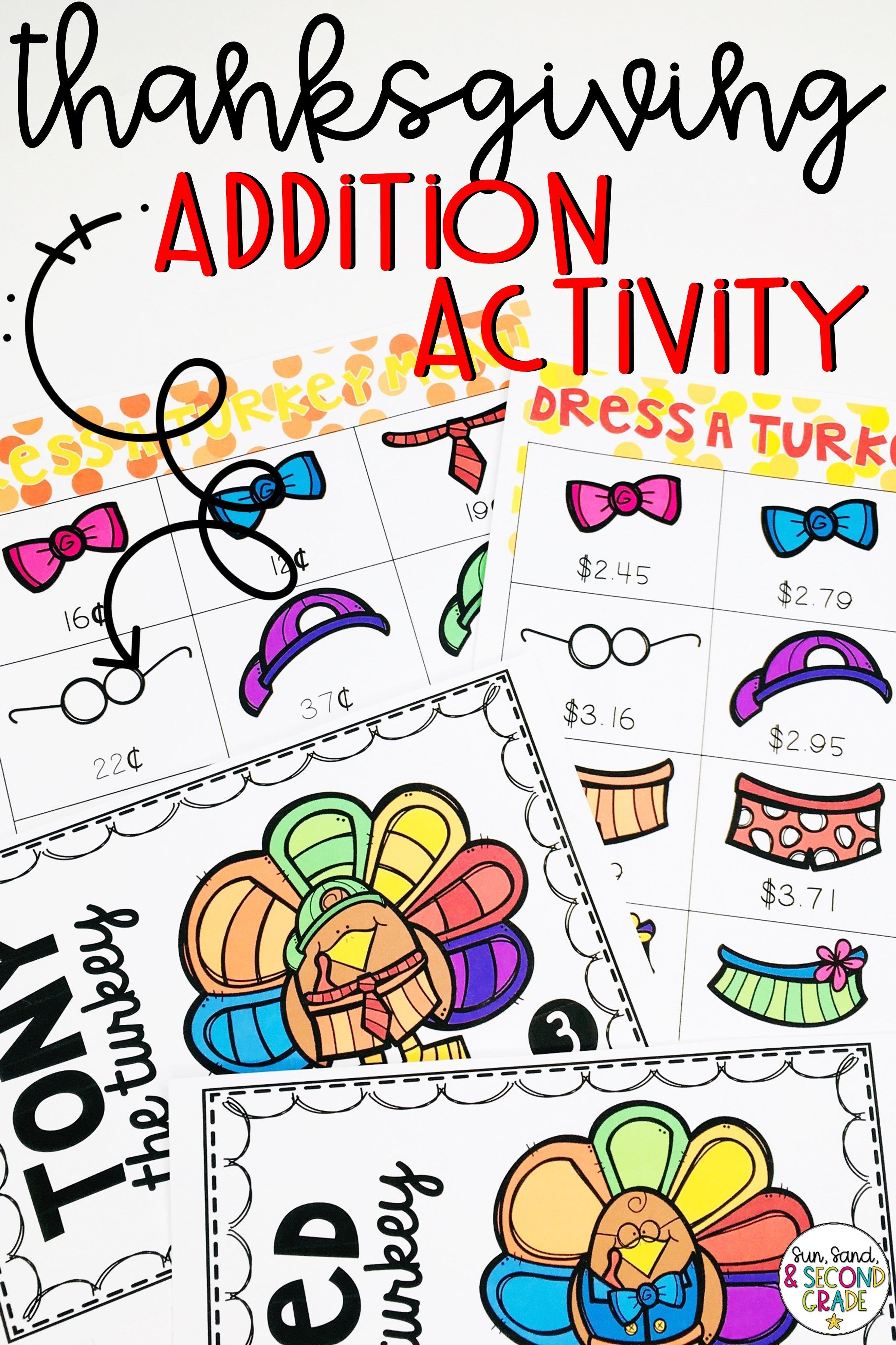 Thanksgiving Addition Activity Amp Turkey Math Craft With