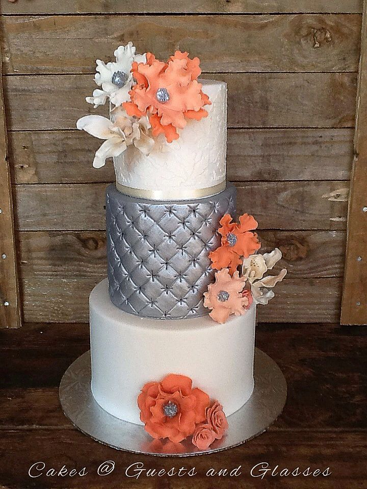 peach white and silver wedding cake ivory and silver wedding cake 0823005301 18154