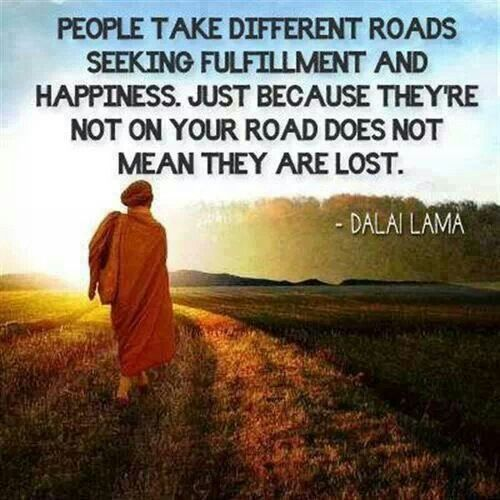 People take different roads seeking fulfillment and happiness. Just because they're not on your road does not mean they are lost. - Dalai Lama