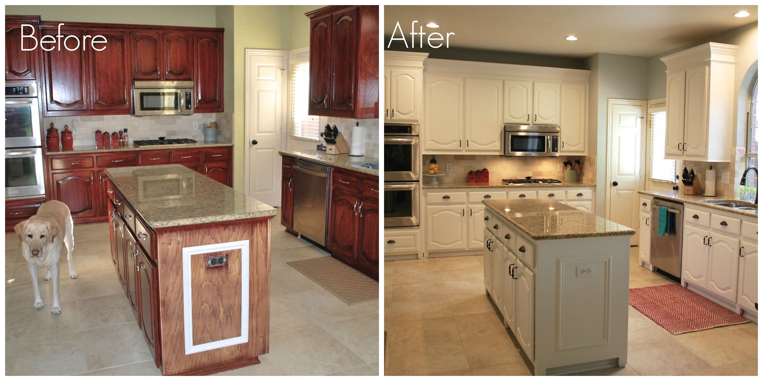 Before after kitchen remodel pinterest painting for Spraying kitchen cabinets white