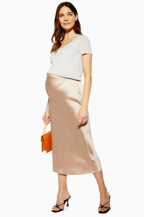 0fee69aa5ab8 MATERNITY Satin Bias Midi Skirt in 2019 | Products | Topshop ...