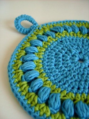 Crochet round potholder. although I really like this