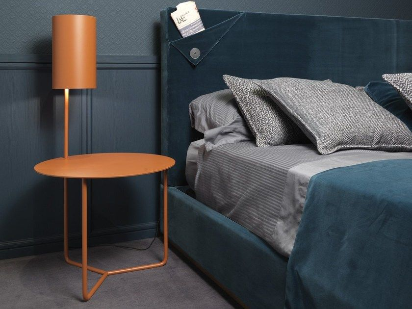 round metal bedside table with built in lights gio by l origine rh in pinterest com