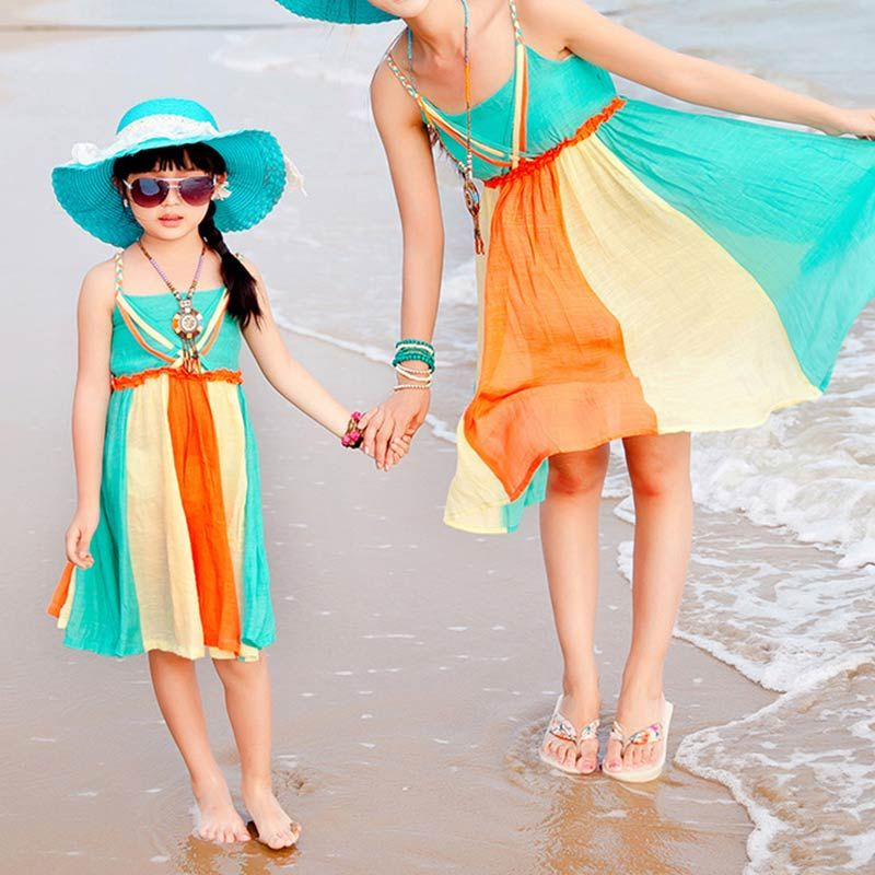 aefbbbf4c5 Color Block Bohemia Style Mom and Me Slip Dress Bohemia Style, Matching  Family Outfits,