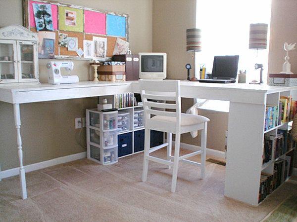 schreibtisch-selber-bauen-ideen-weiße-farbe- weißer stuhl - schreibtisch selber bauen ikea