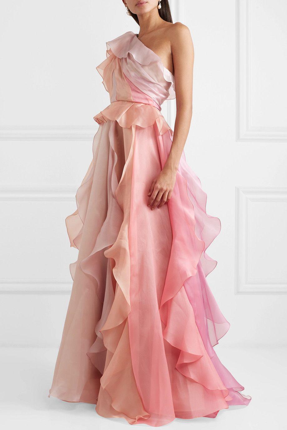 One-shoulder Ruffled Silk-organza Gown – Pink