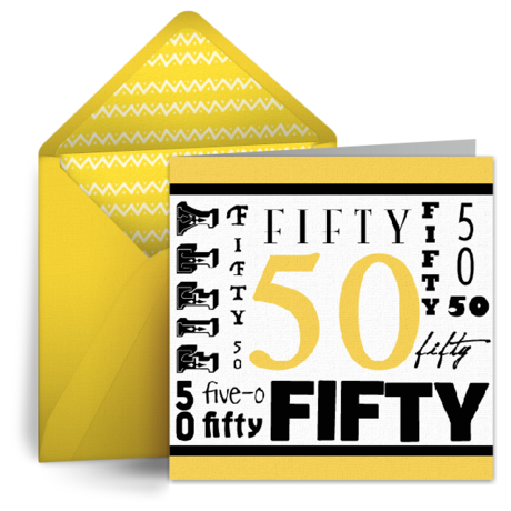 Wordy 50th Birthday From Punchbowl E Cards Pinterest 50th