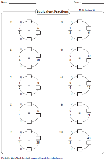 Image result for Equivalent fractions worksheets | nermeen ...
