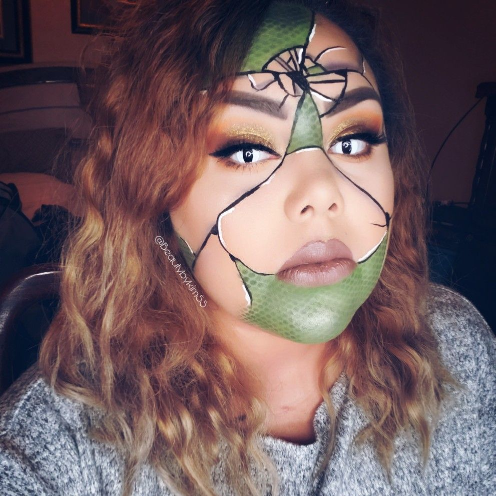 Reptile, snake, lizard skin, Halloween makeup Halloween