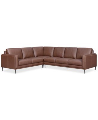 Closeout Maida 3 Pc Leather Sectional With Sofa