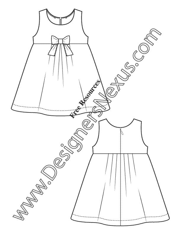 toddler infant dress v16 kids illustrator fashion flat sketch designers nexus - Sketch Images For Kids