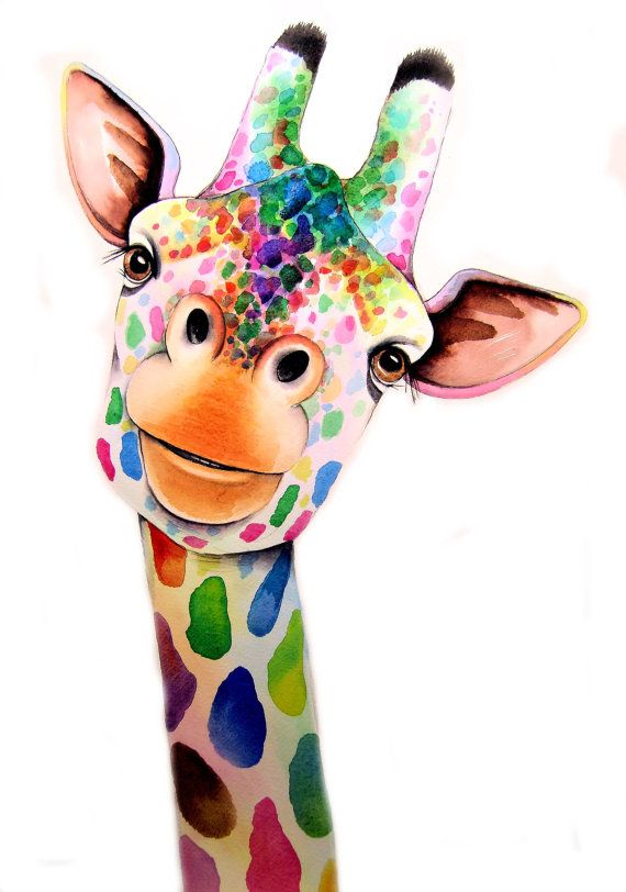 Giraffe Art Signed Print from an original watercolour painting by artist Maria Moss.