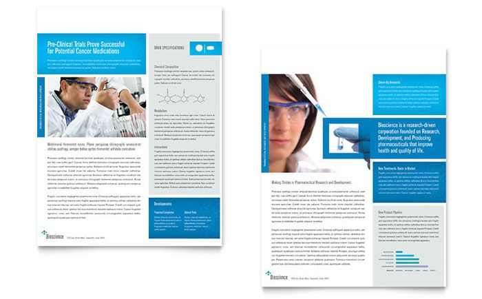 Science And Chemistry Datasheet Template Design By Stocklayouts