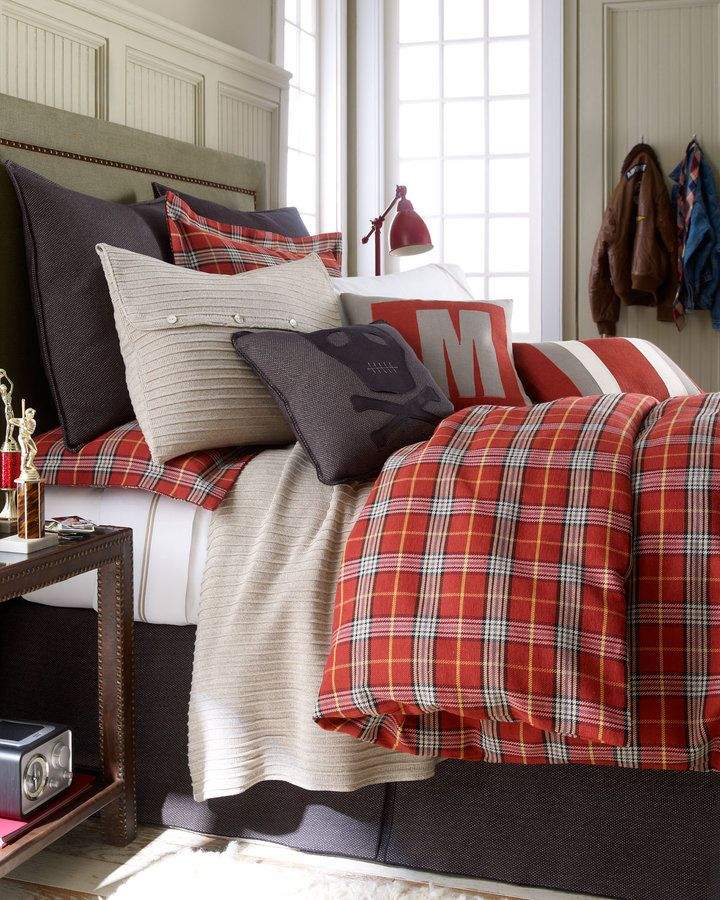 """Daniel Stuart Studio """"Mason"""" Red Plaid Bed Linens thestylecure.com with swiss army blanket"""