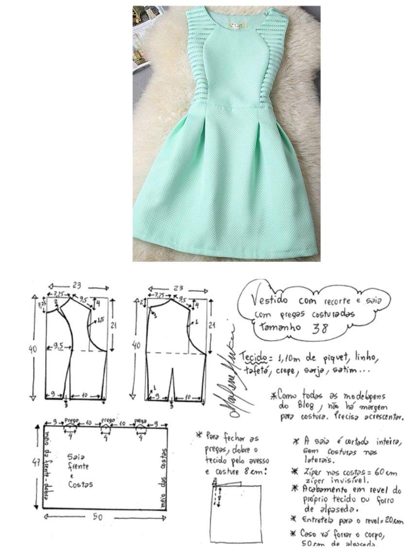 Pin de camila massi en Costura | Pinterest | Patrones, Vestidos de ...