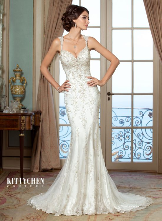 Stunning Evelyn gown by Kitty Chen, here at Poffie Girls. Perfect for the modern bride with classic style!