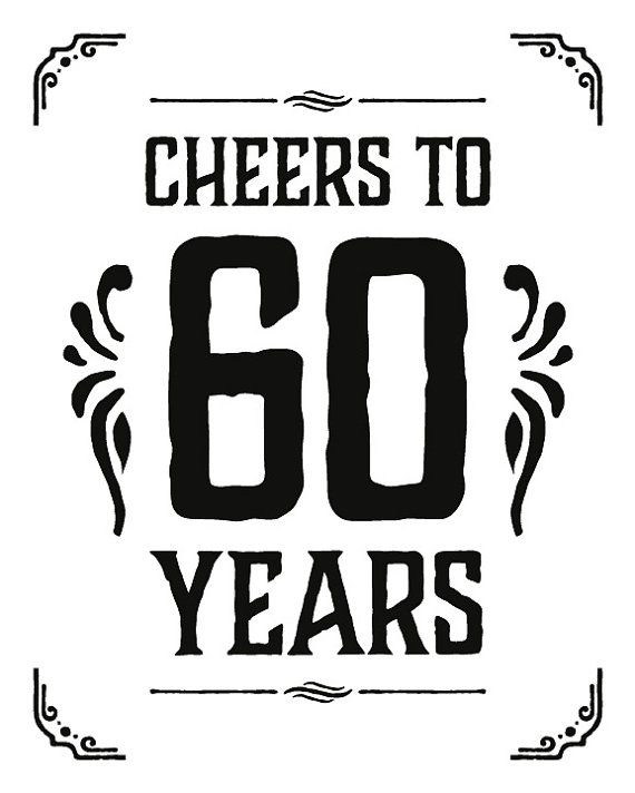 birthday party supplies cheers to 60 years sign printable 60th